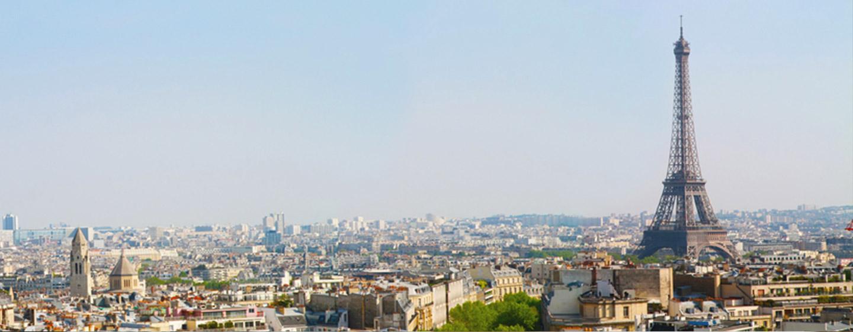 Vue de la Tour Eiffel depuis la résidence étudiante J.Lejeune, Paris (75015)