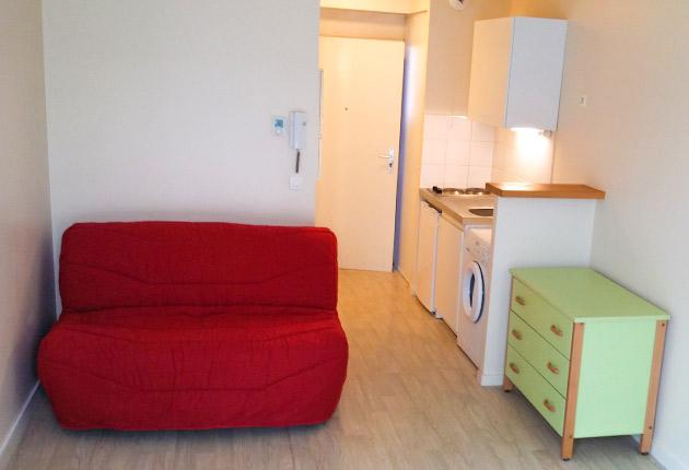 Intérieur d'un appartement T1 à la résidence J. de la Bruyère