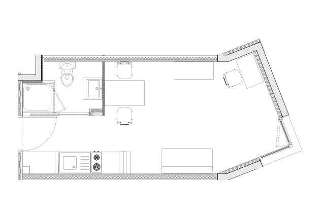 Plan d'un studio T1 type de la résidence J. De la Bruyère, Poissy (78300)