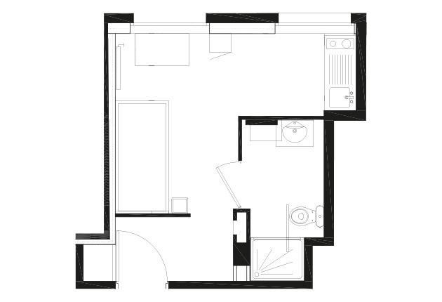 Plan d'un T1 de la résidence G.Garreau à Viroflay (7822à)