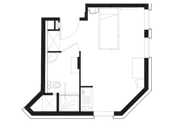 Plan d'un T1 BIS de la résidence G.Garreau à Viroflay (7822à)