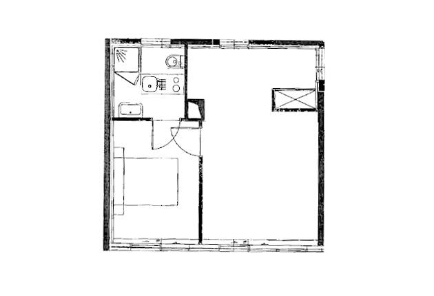 Plan du studio de la résidence Agefo à Boulogne (92100)